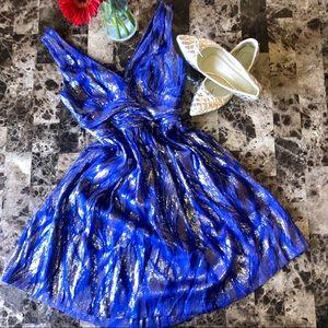 Trina Turk Royal Blue Metallic Cocktail Dress